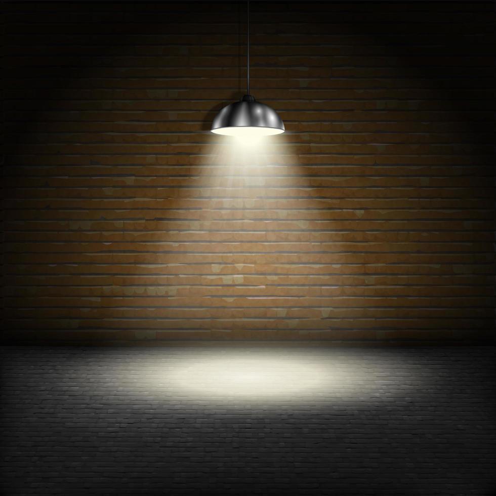 Spotlight And Brick Wall vector