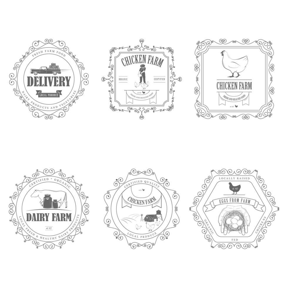 Insignias de productos agrícolas con marcos ornamentales. vector