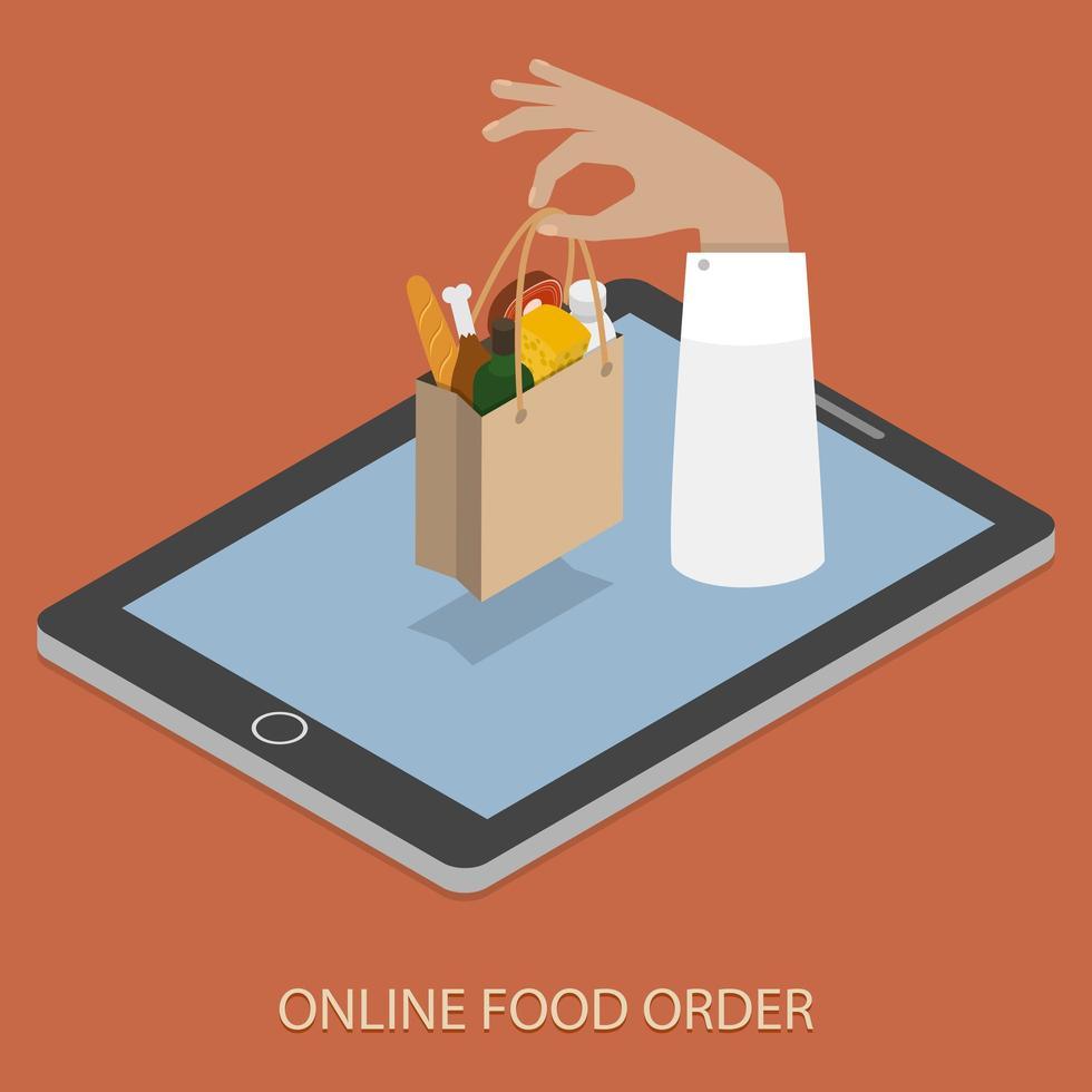 mão com saco de comida aparecendo do dispositivo vetor