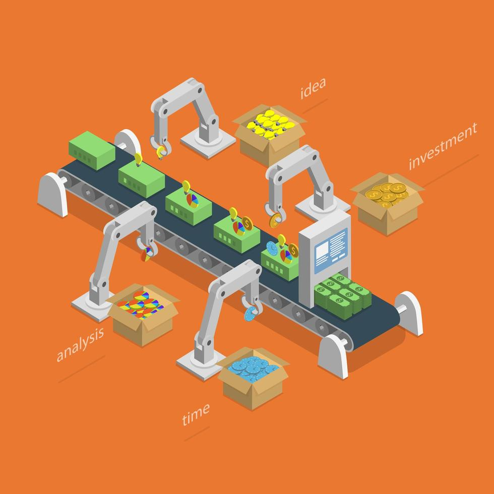 Robots que ensamblan dinero usando ideas, análisis, inversiones y tiempo. vector