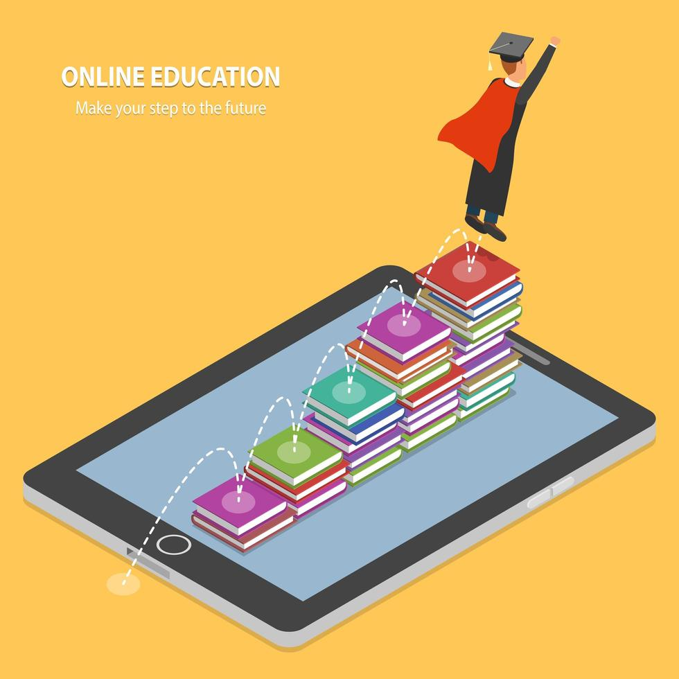 Online Education Steps to the Future Concept vector