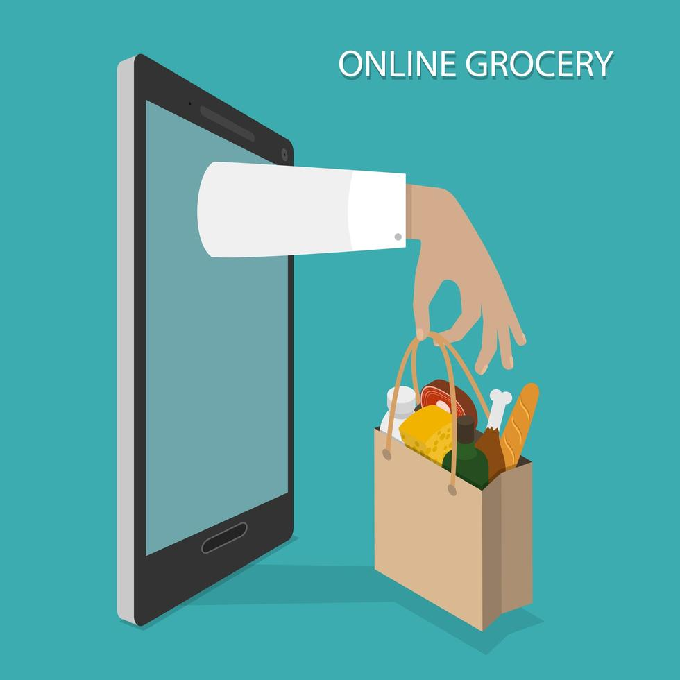 Hand Holding Full Grocery Bag Appearing From Device vector