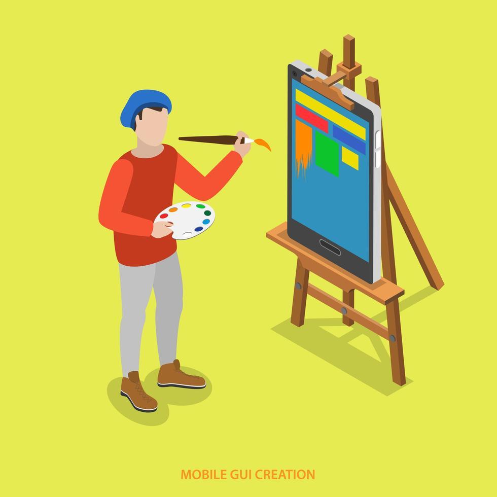pintor pinta en smartphone, concepto de creación de interfaz gráfica de usuario vector