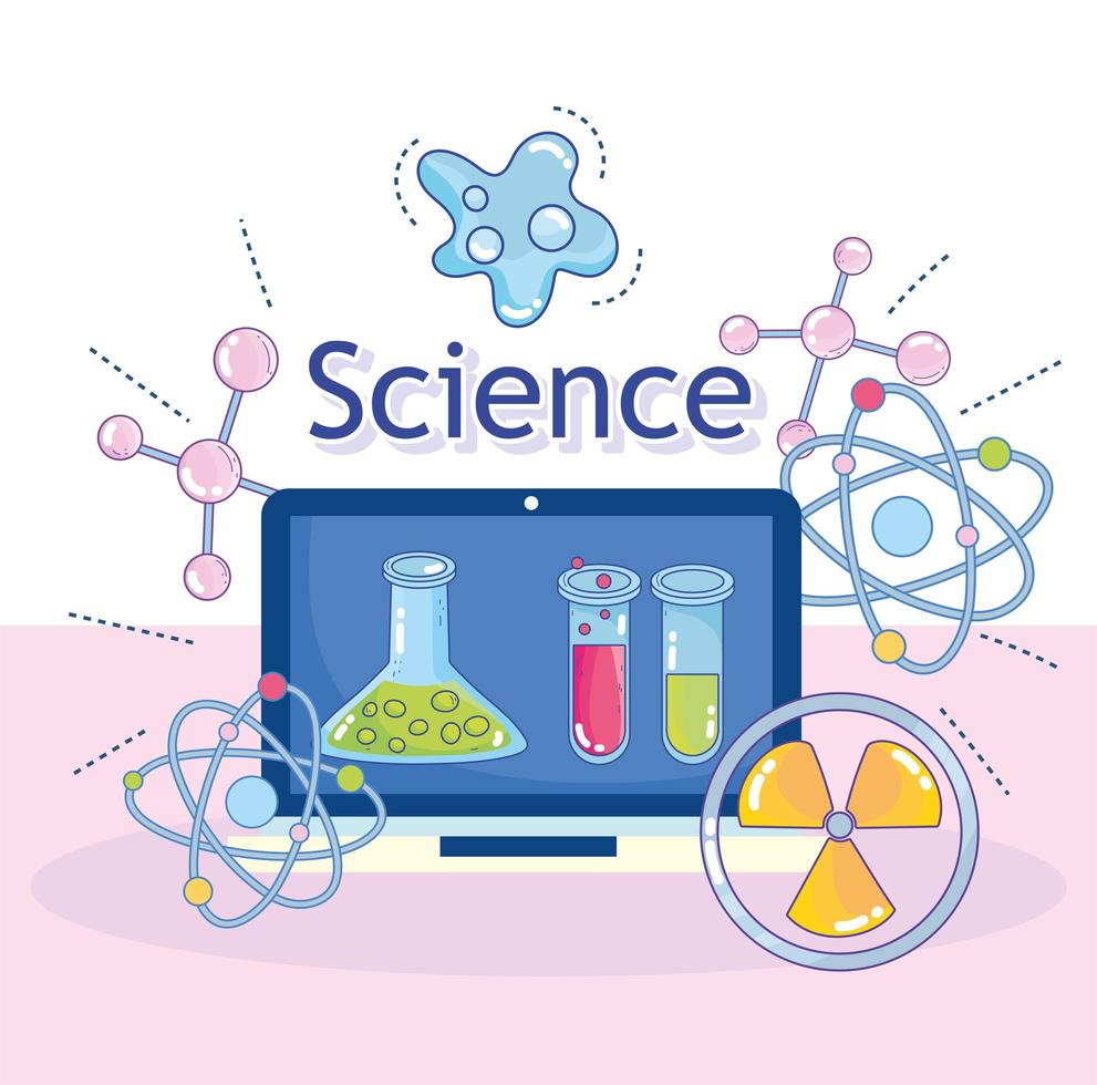 Science and nuclear research laboratory instruments with laptop vector