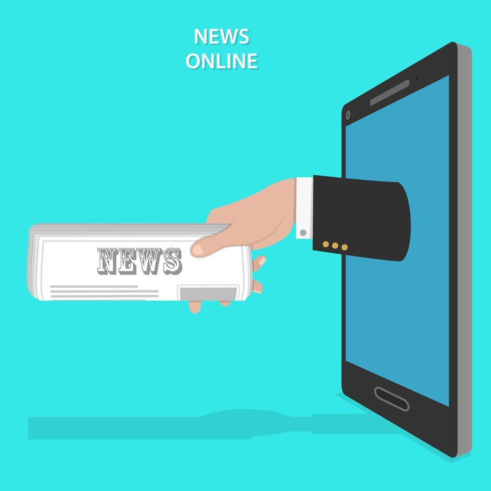 Mans hand newspaper roll from smartphone screen vector