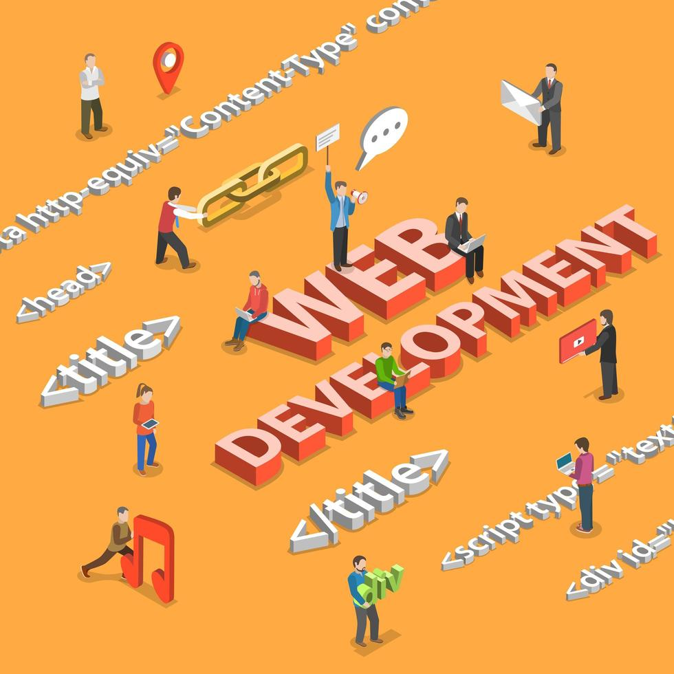 Web development concept with characters and html tags vector