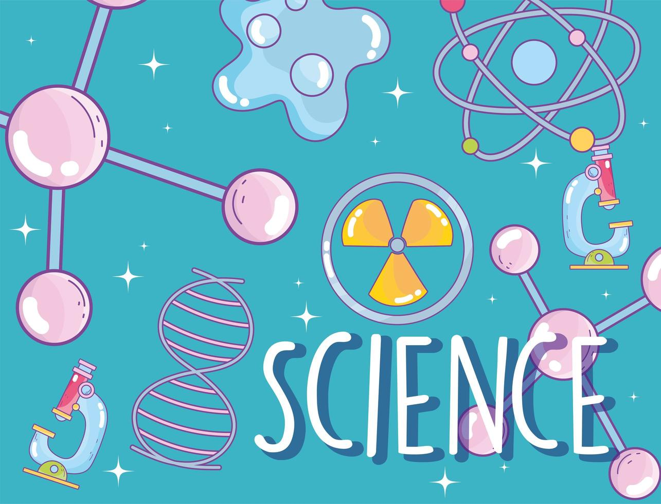 padrão com tema de ciência com letras vetor