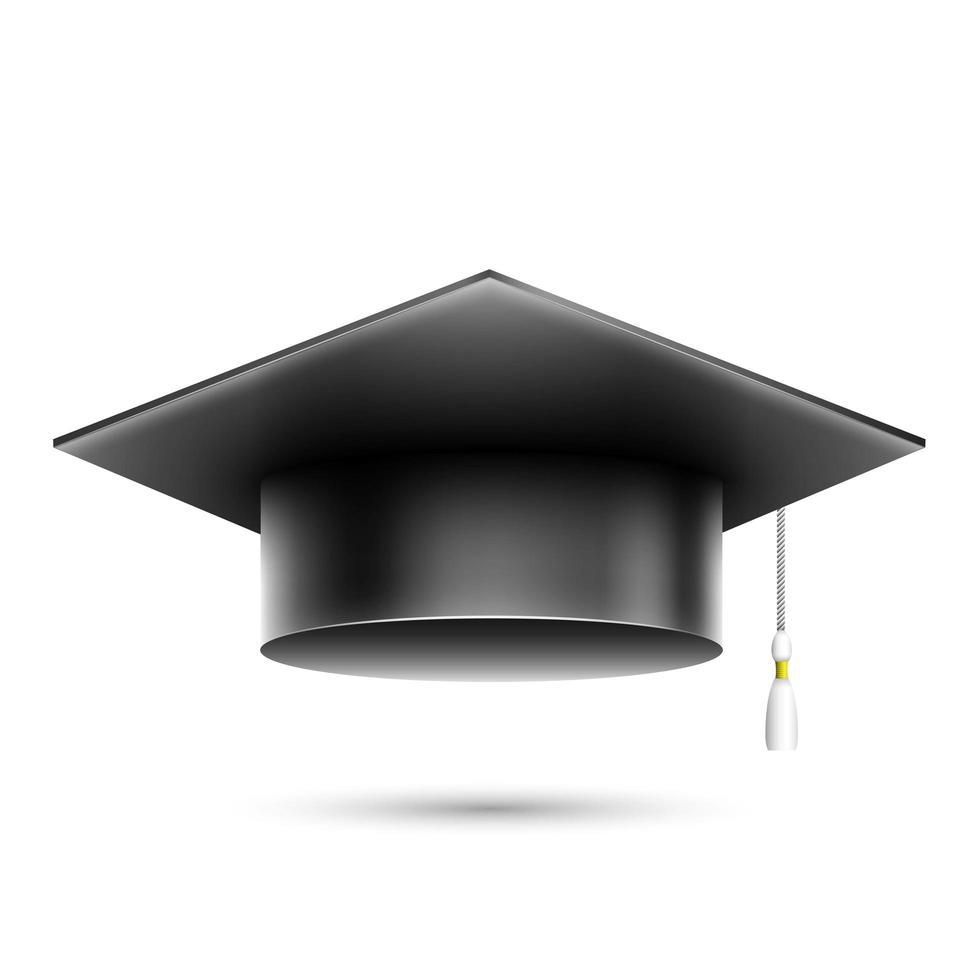 chapéu de estudante preto realista isolado vetor