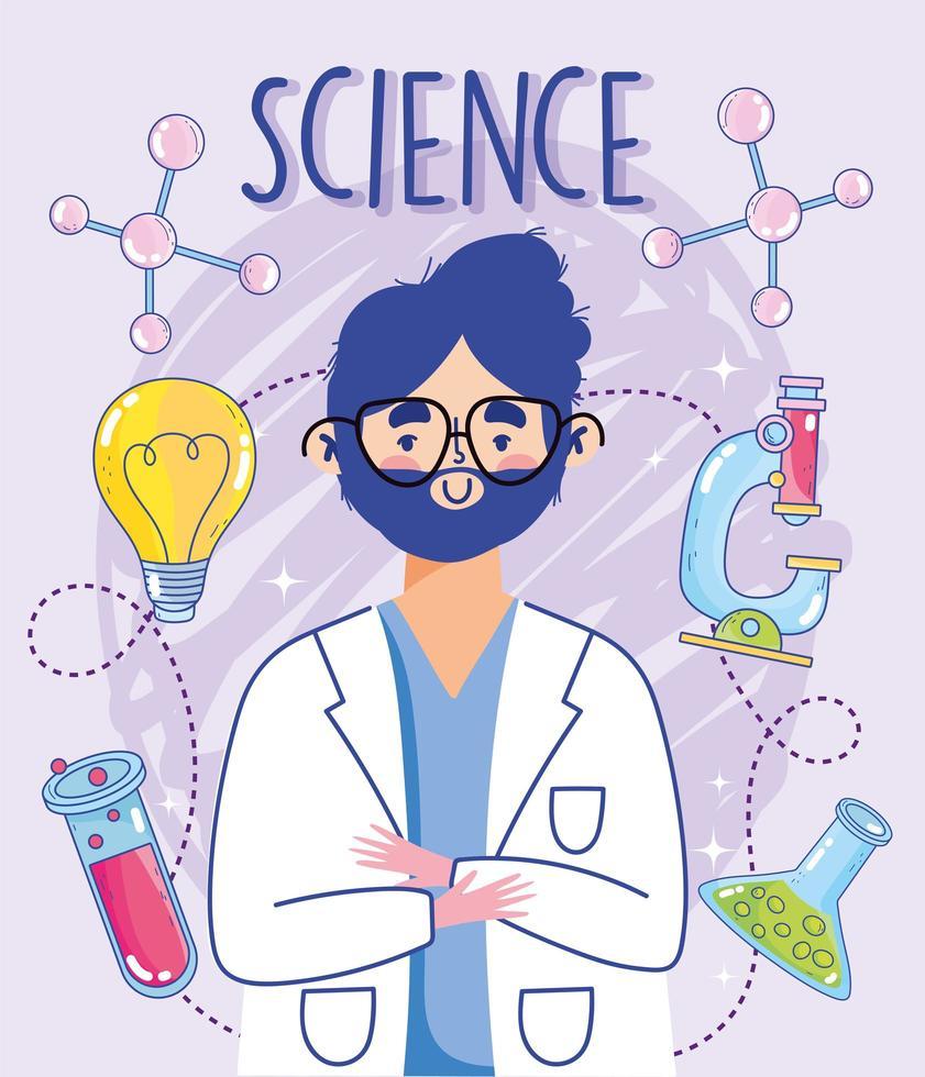 Hombre en bata de laboratorio con instrumentos de laboratorio científico vector