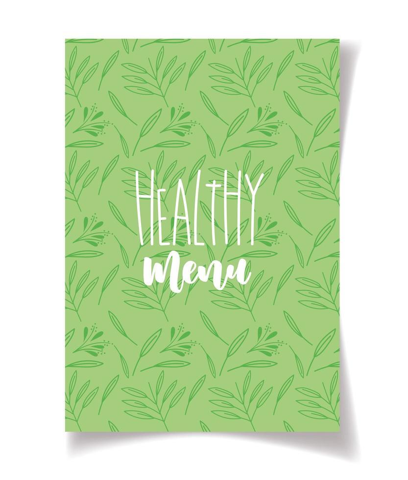 letras de menu saudáveis em padrão de folha verde vetor