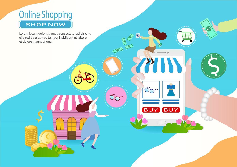 colorida plantilla de compras en línea con mujeres y dispositivos vector