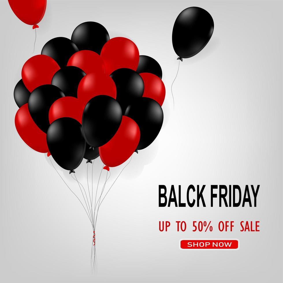 cartel de venta de viernes negro con globos brillantes negros y rojos vector