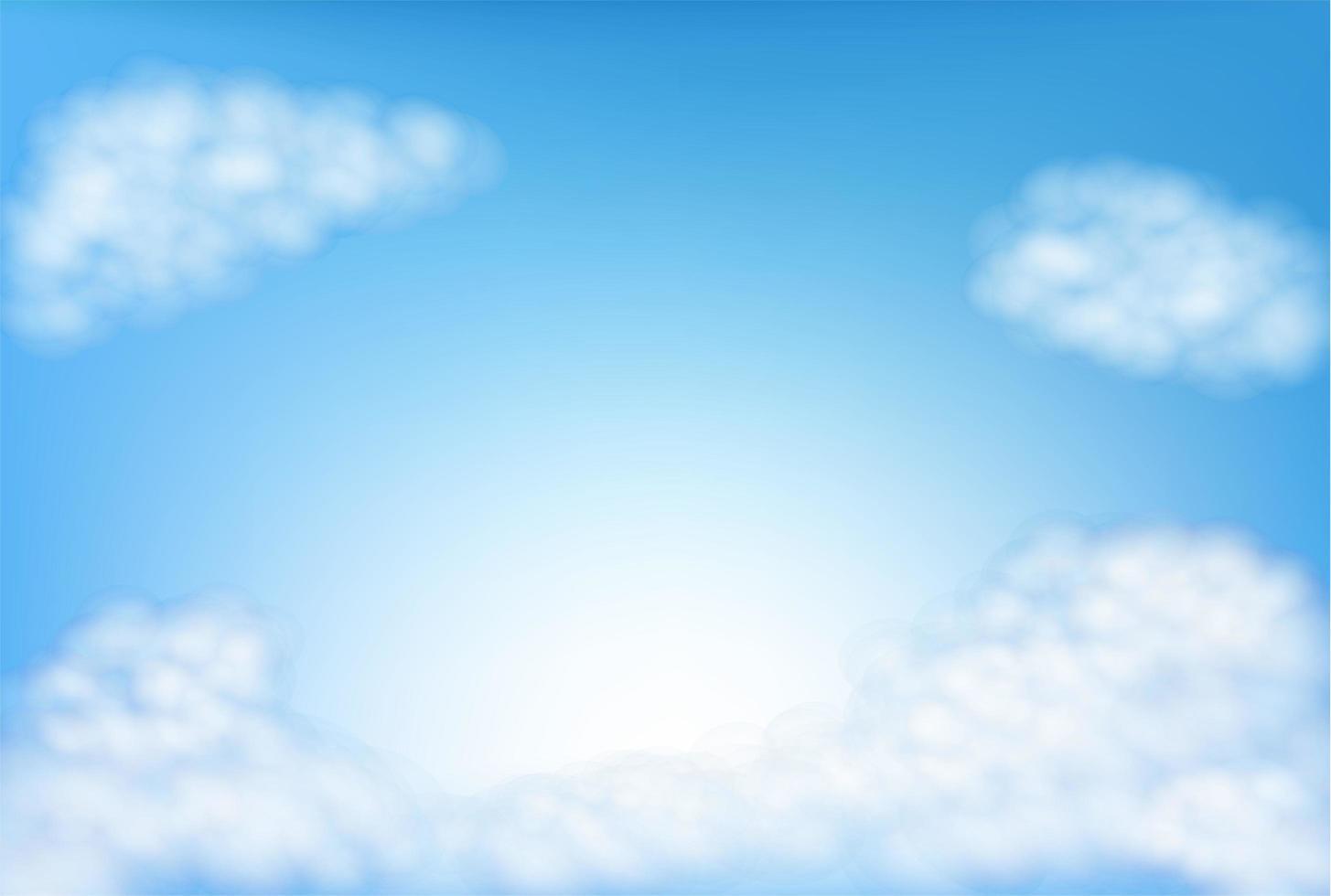 céu azul com nuvens fofas e espaço vazio vetor