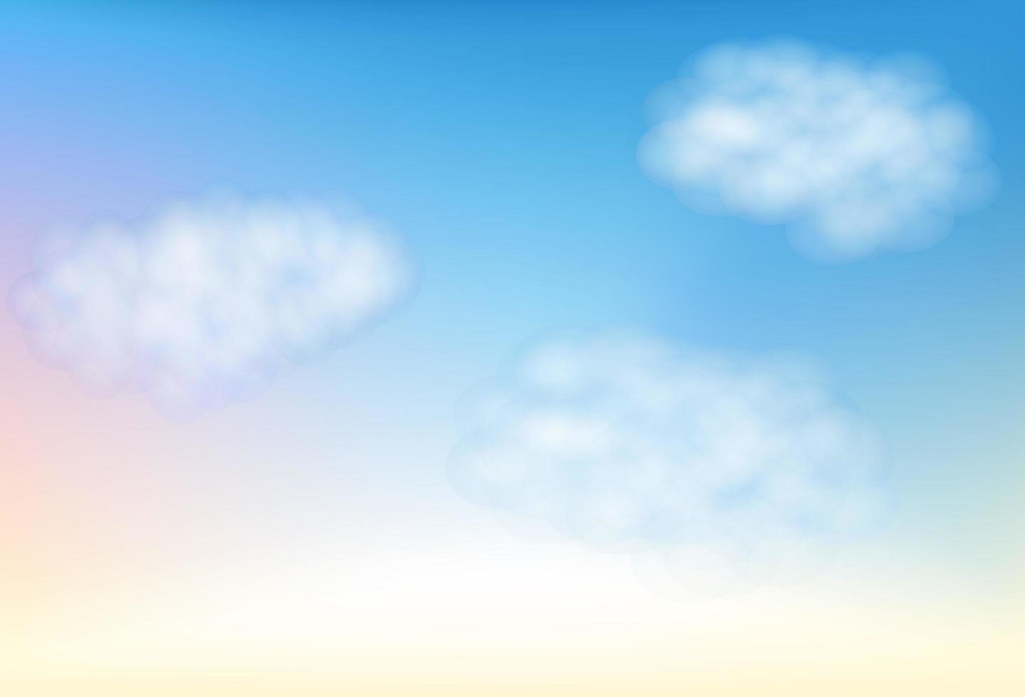lindo amanhecer, céu azul multicolorido com nuvens vetor