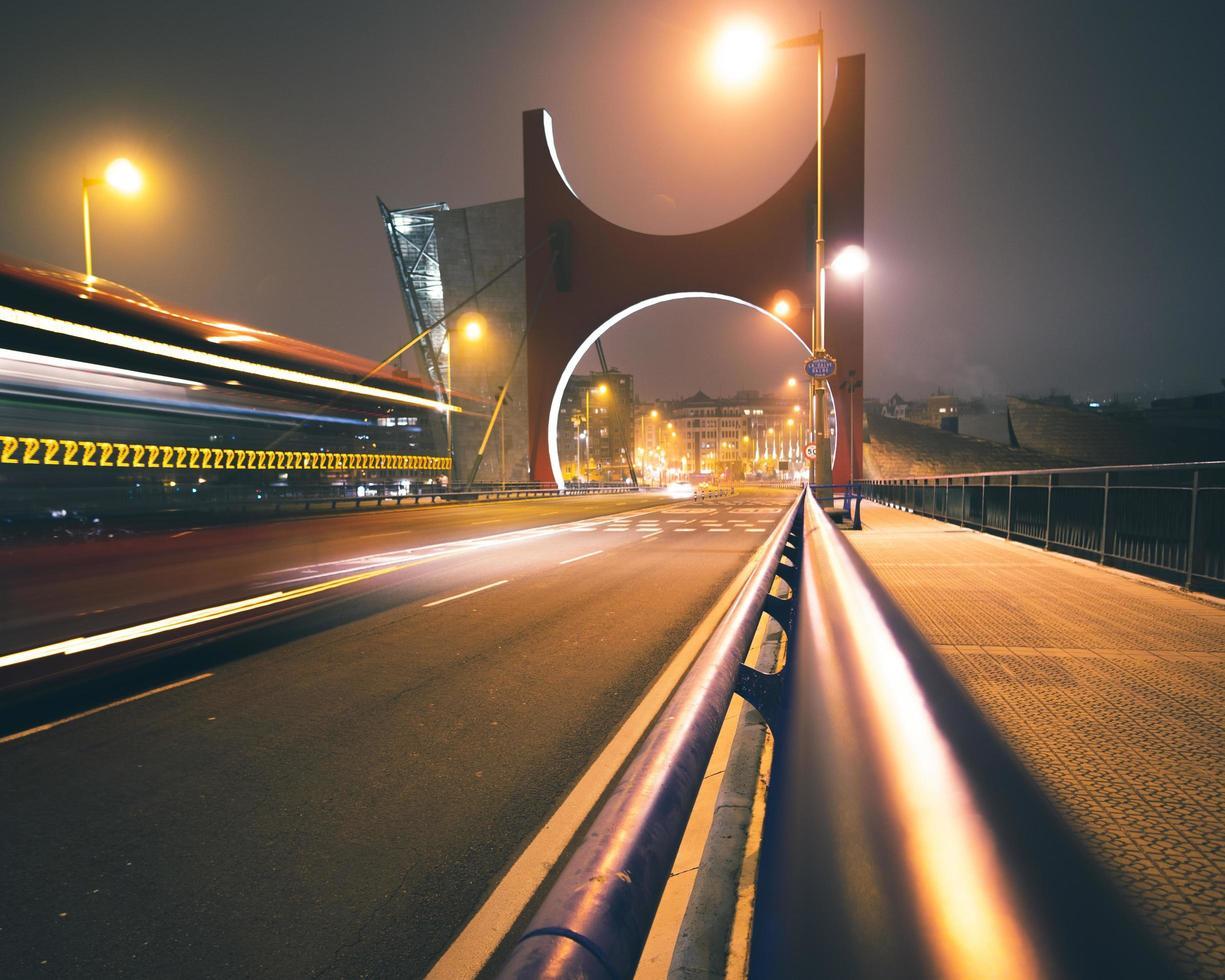 Concrete bridge at nighttime photo