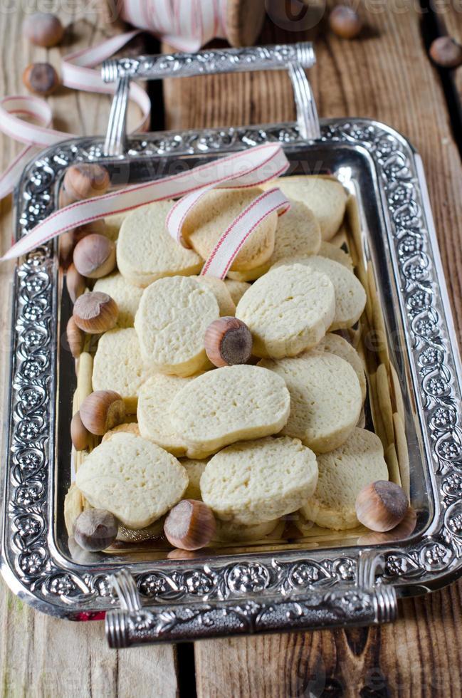 Walnut cookies on a metal tray photo