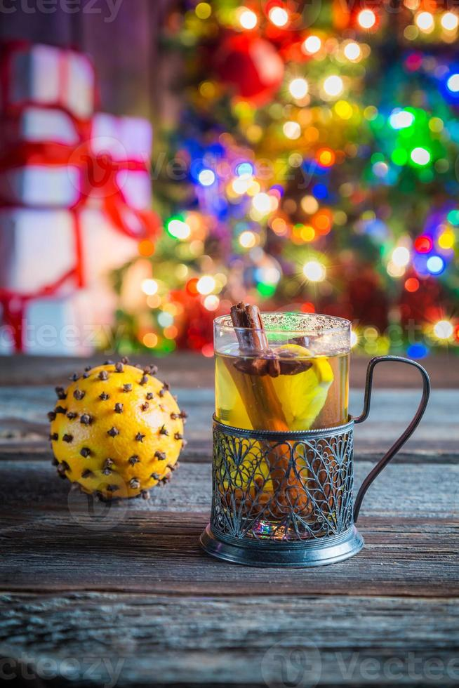 Tasty and sweet tea and gingerbread cookies for Christmas photo
