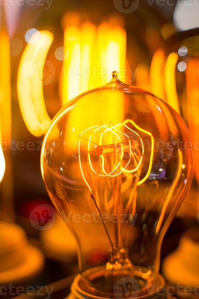 Spiral Glowing Led filament cob lamp blur photo