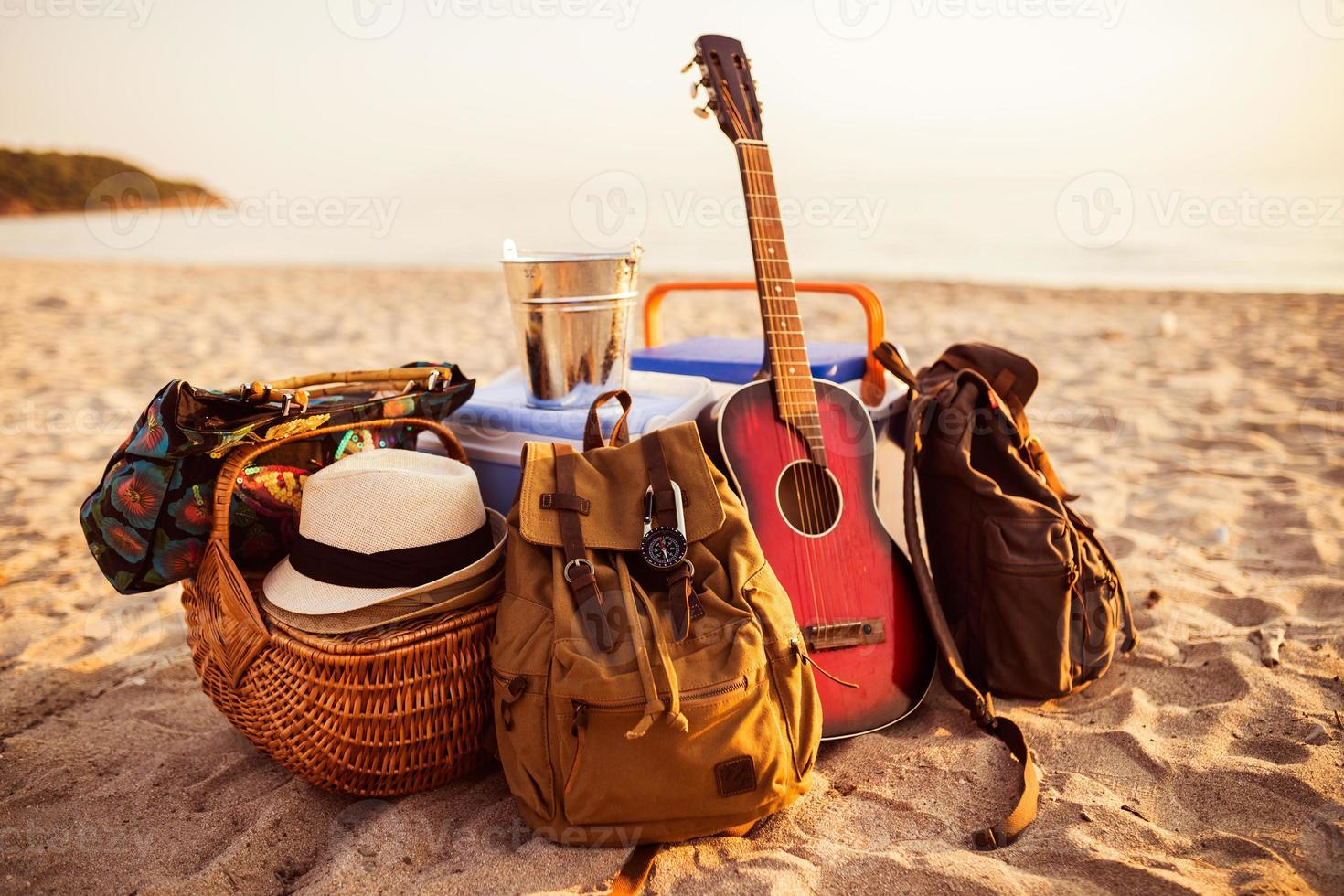 Guitar,backpack and everything is ready for party. photo