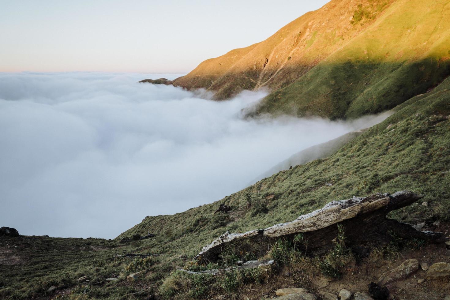 View of foggy mountain photo