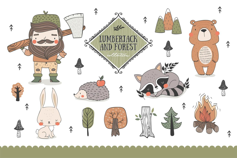 Colección de animales del bosque y divertidos personajes de leñador. vector