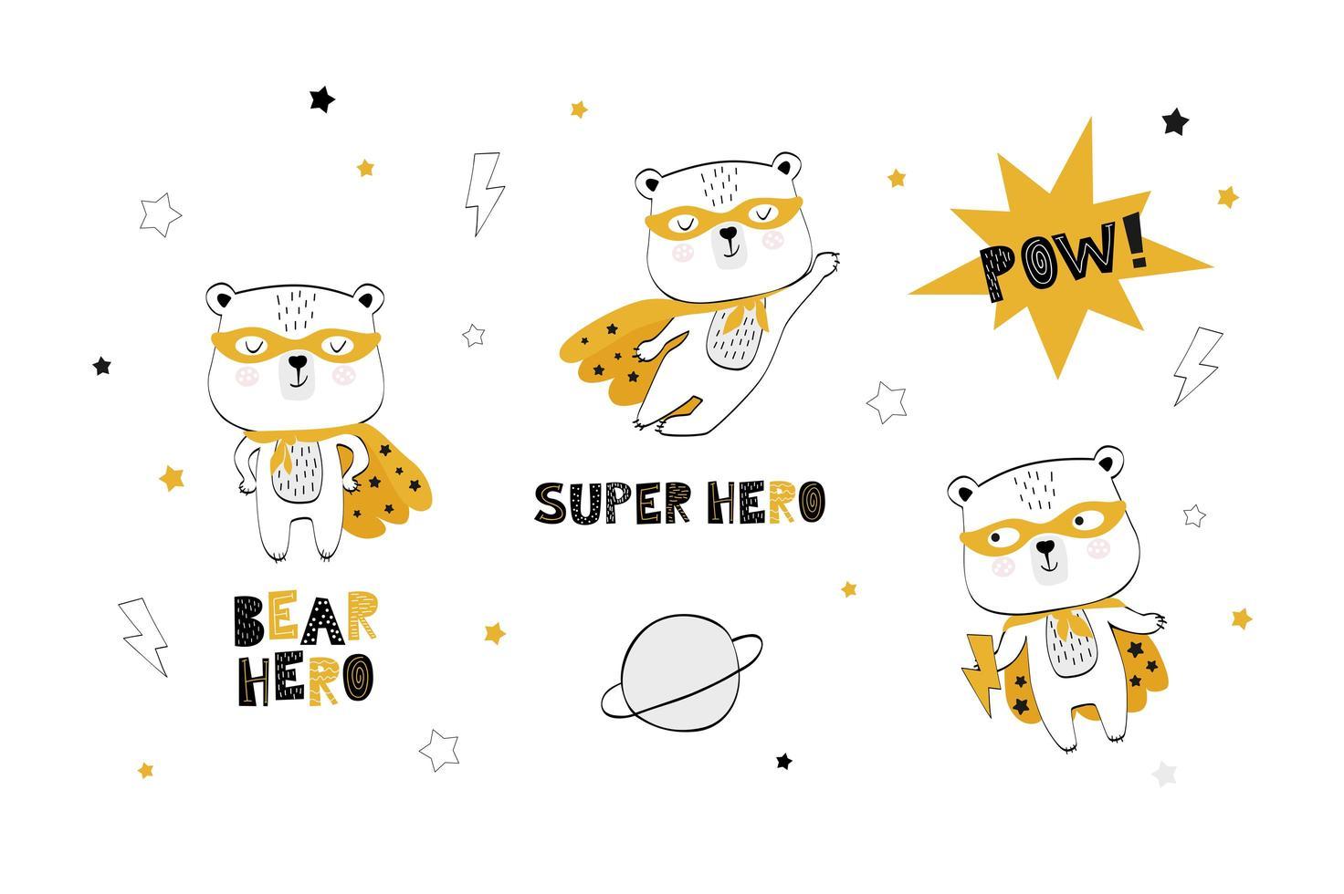 colección bebé oso superhéroe vector