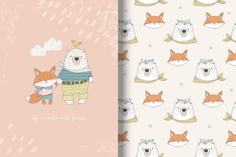mejores amigos oso y zorro vector