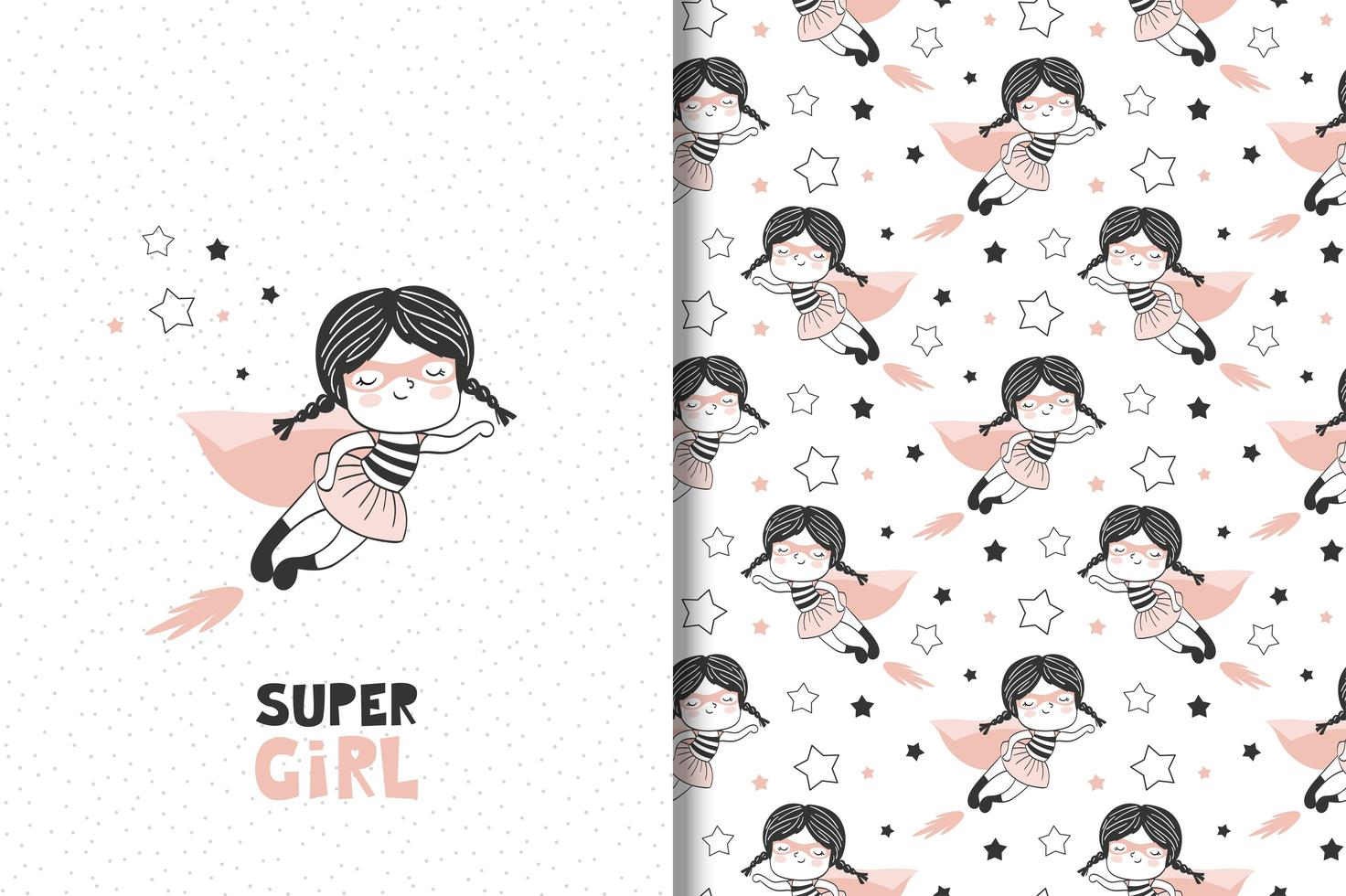 Girl  as a superhero character. vector