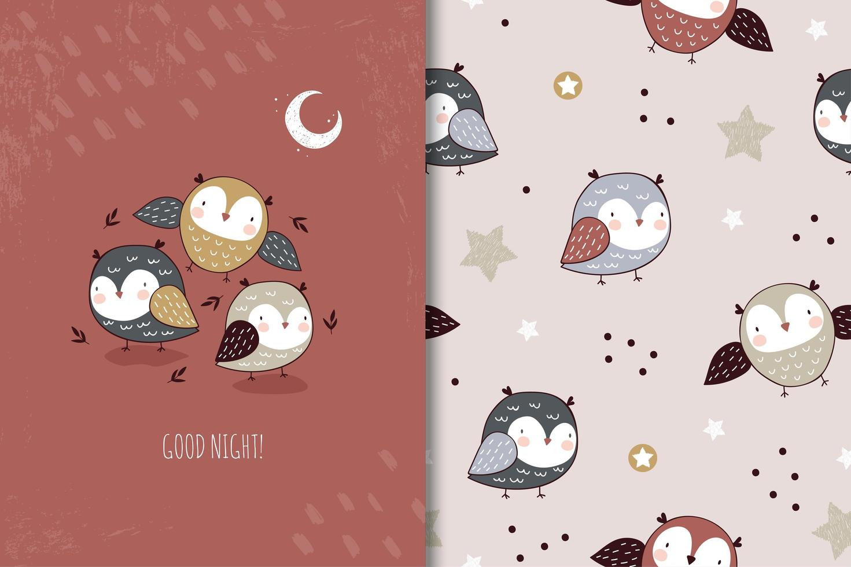 Little owls character. vector