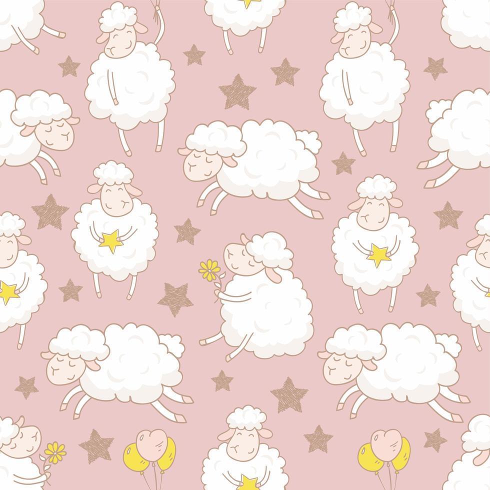 ovelha branca com padrão de estrelas vetor
