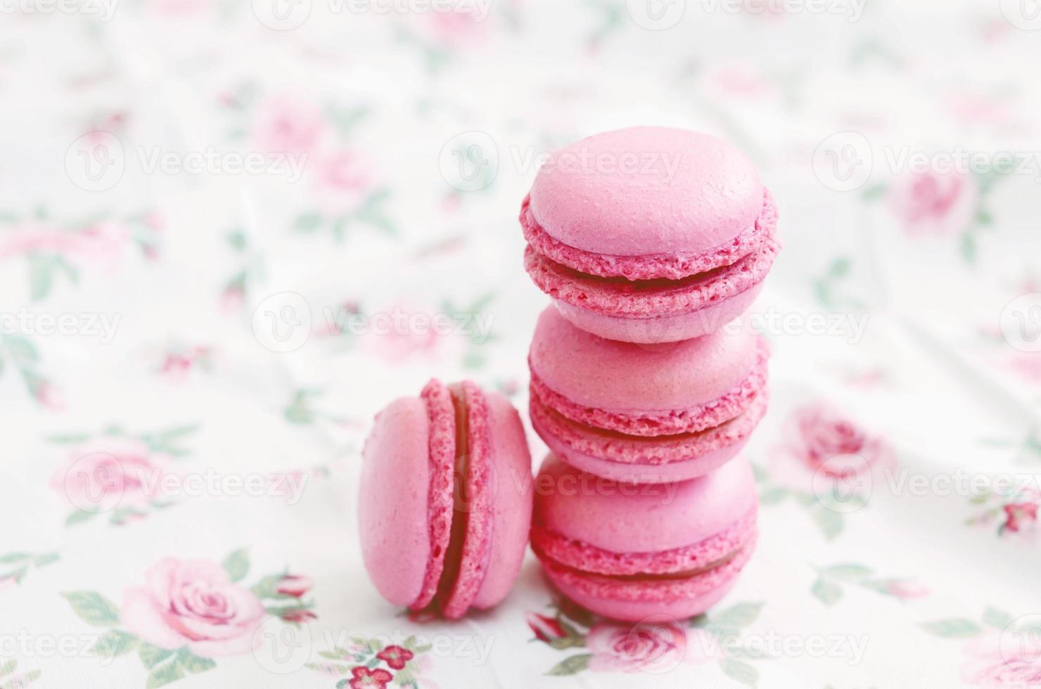 French cherry macaroon dessert photo