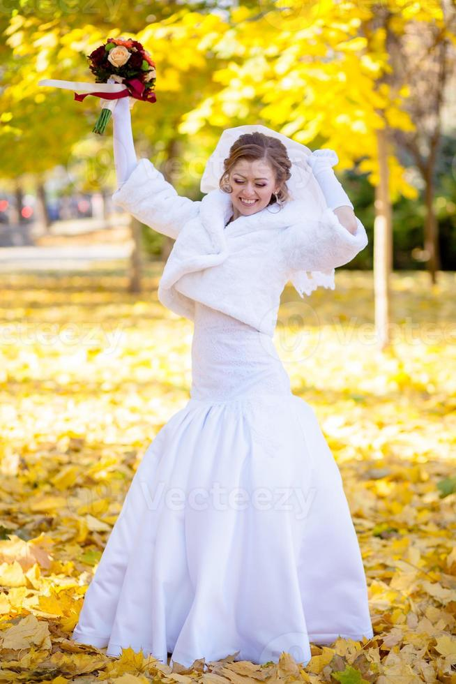 cheerful and gentle charming bride photo