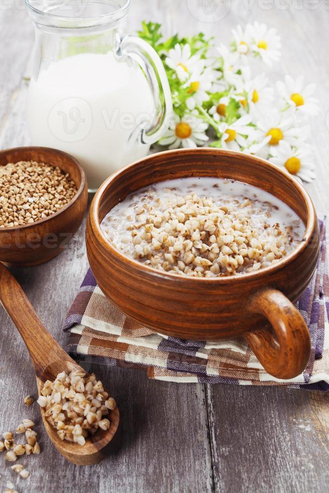 Buckwheat porridge with milk photo