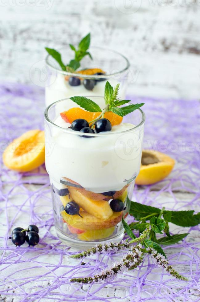 Cream dessert with fruit and berries photo