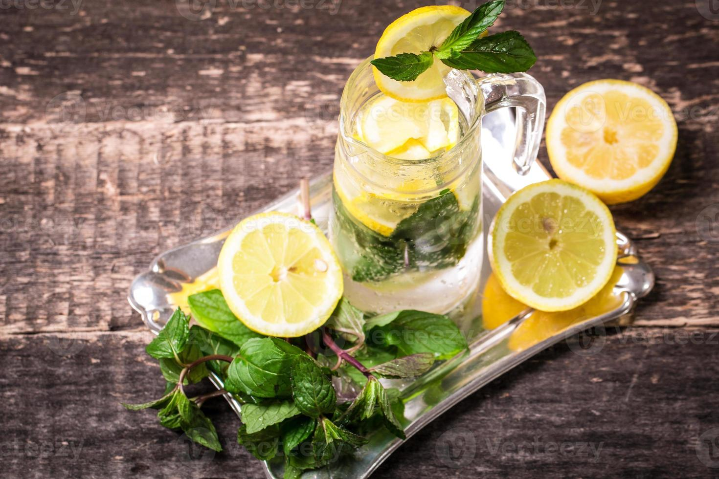 Fresh drink with lemon and mint photo