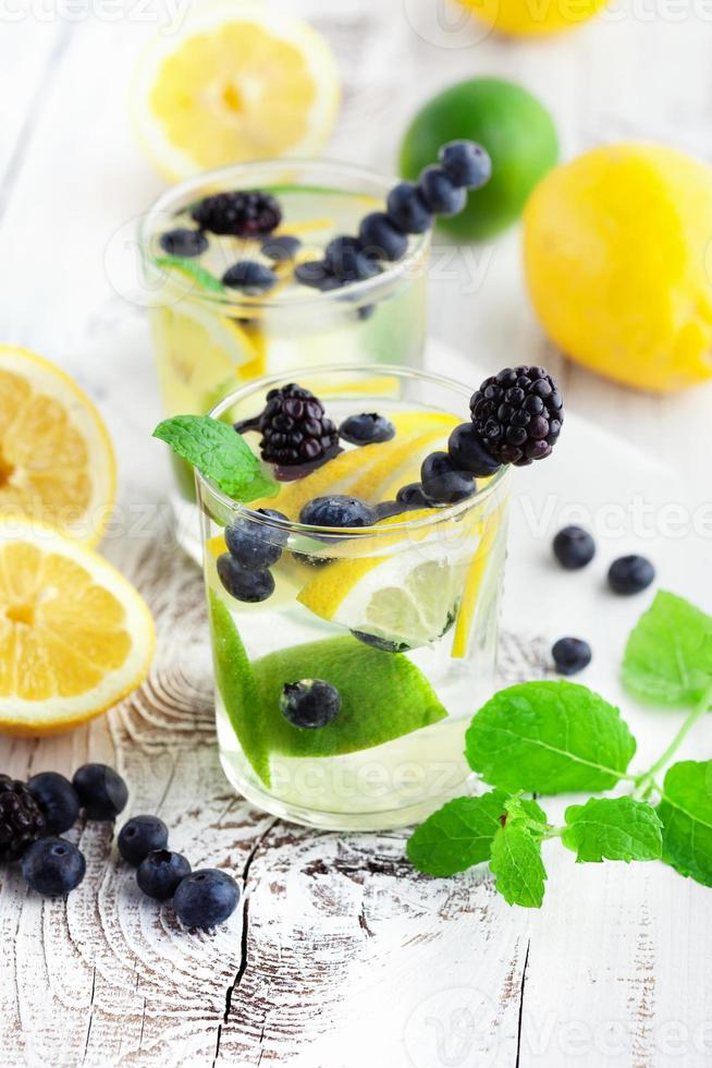Lemonade in a glass with mint photo