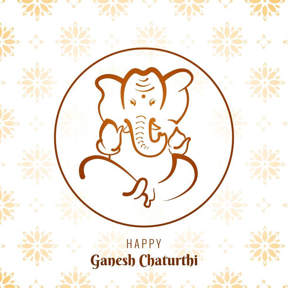 fondo de la tarjeta del festival del marco del círculo de ganesh chaturthi vector