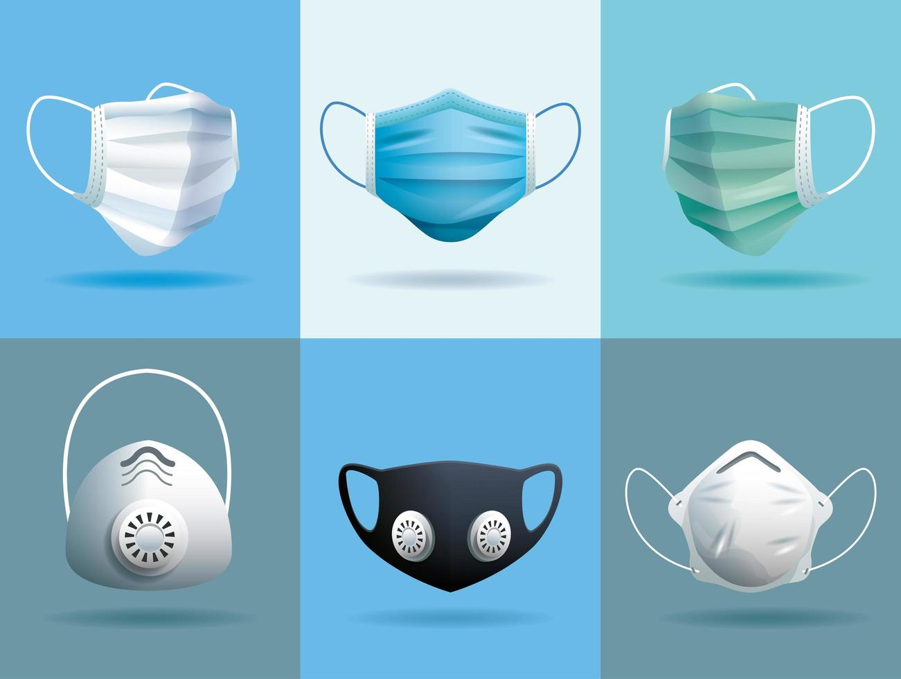 Set of medical masks to protect from COVID 19 vector