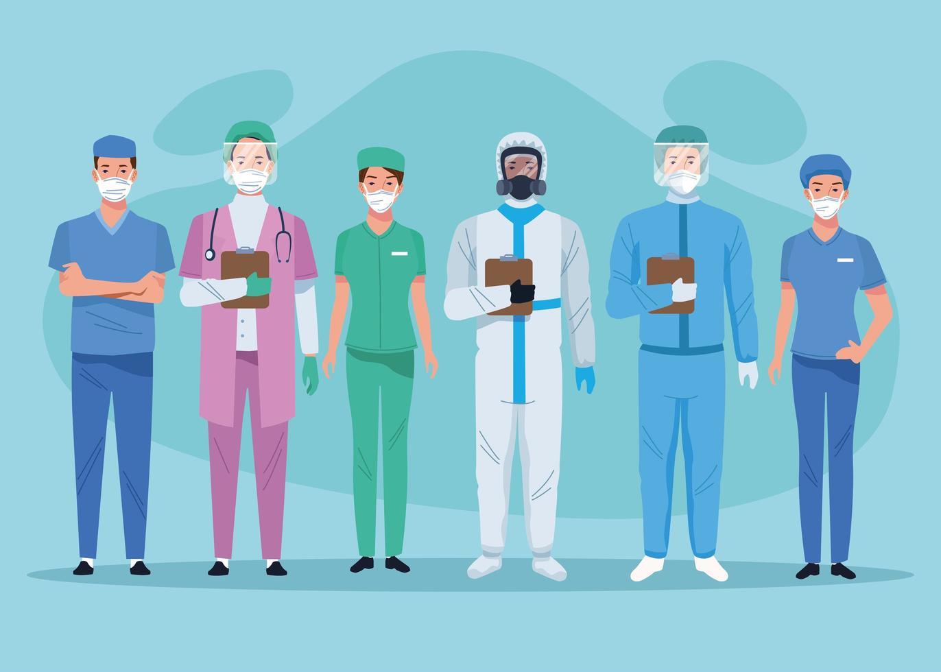 personal médico trabajadores de la salud personajes vector
