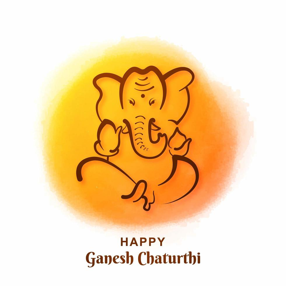 Ganesh Chaturthi Festival Card on Yellow Paint Circle Background vector