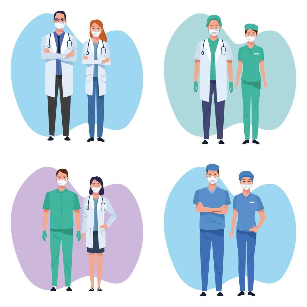 conjunto de personal médico trabajadores sanitarios vector