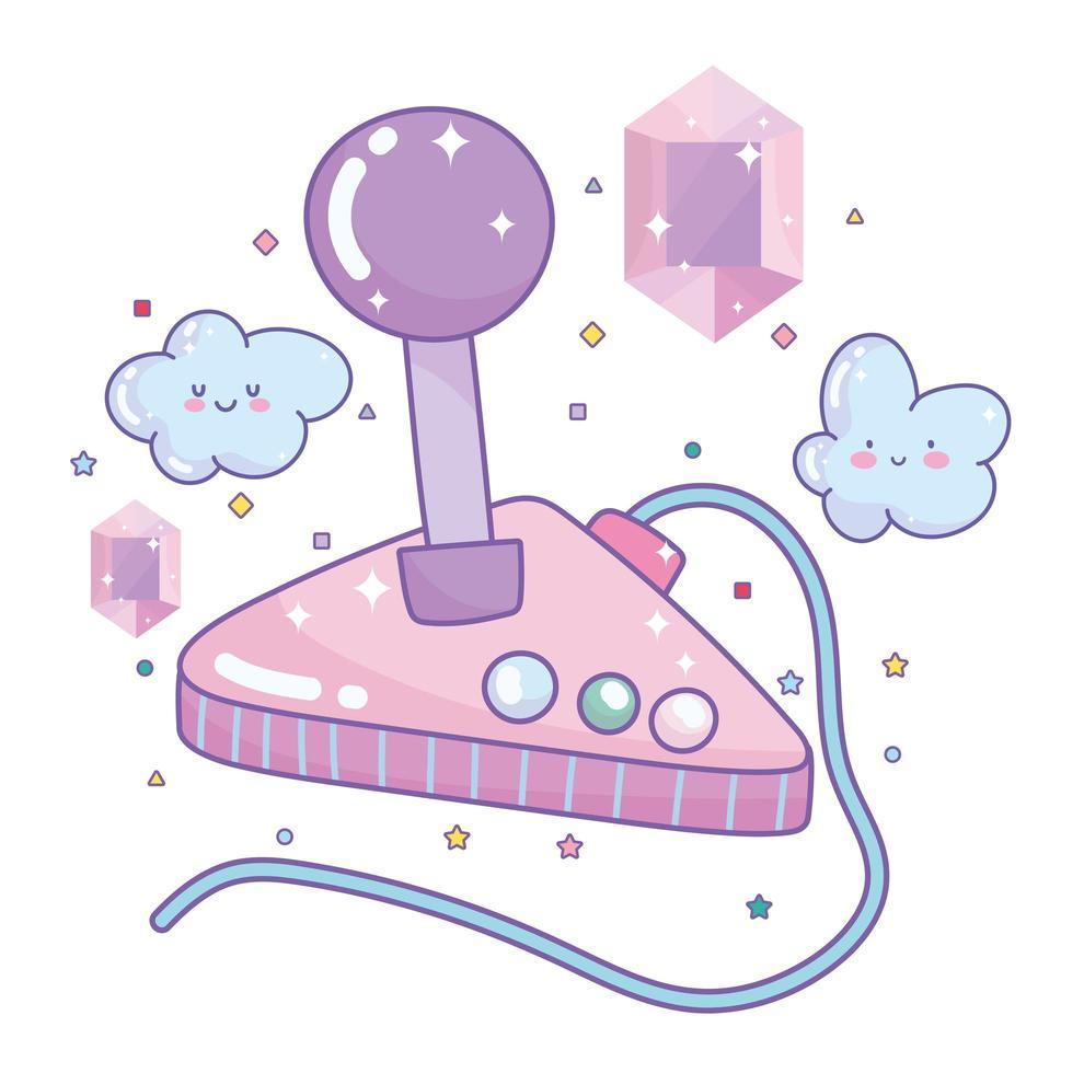 joystick de videojuego con gemas vector