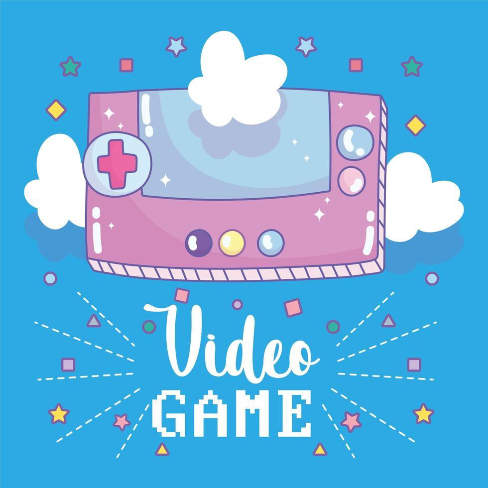console de videogame portátil com letras e nuvens vetor