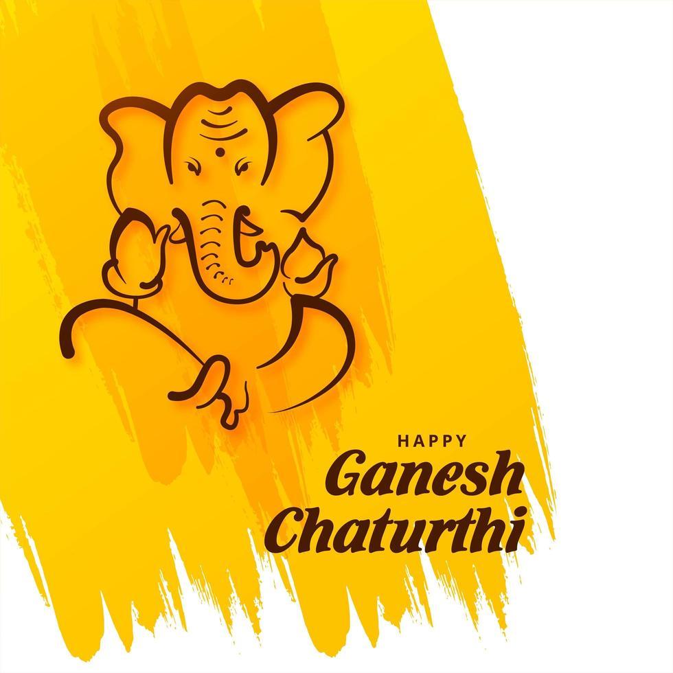 festival indio del señor ganesh chaturthi en el trazo de pincel vector