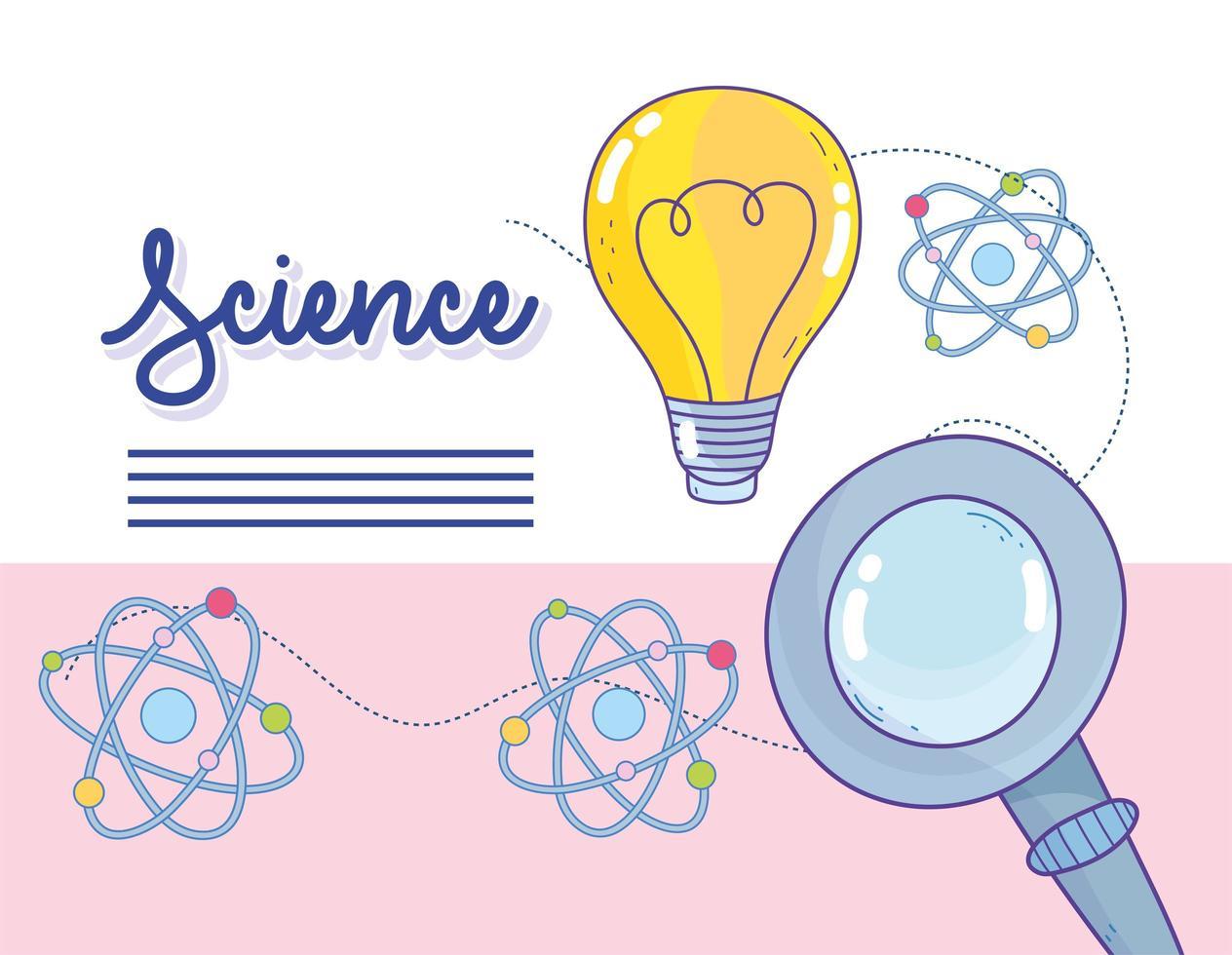 Innovación y ciencia con iconos de moléculas de átomo. vector
