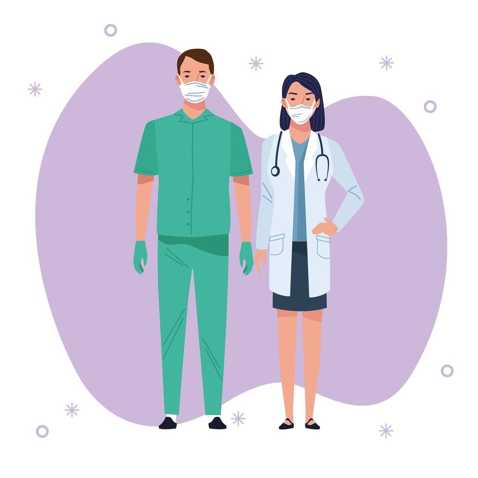 Two medical staff healthcare workers vector