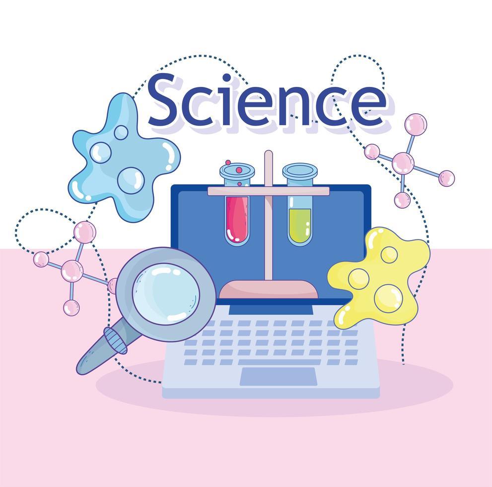 Instrumentos de laboratorio de ciencia e investigación con una computadora portátil. vector