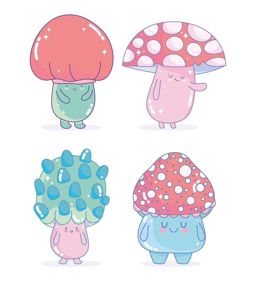 Set of mushroom fungus characters icons vector