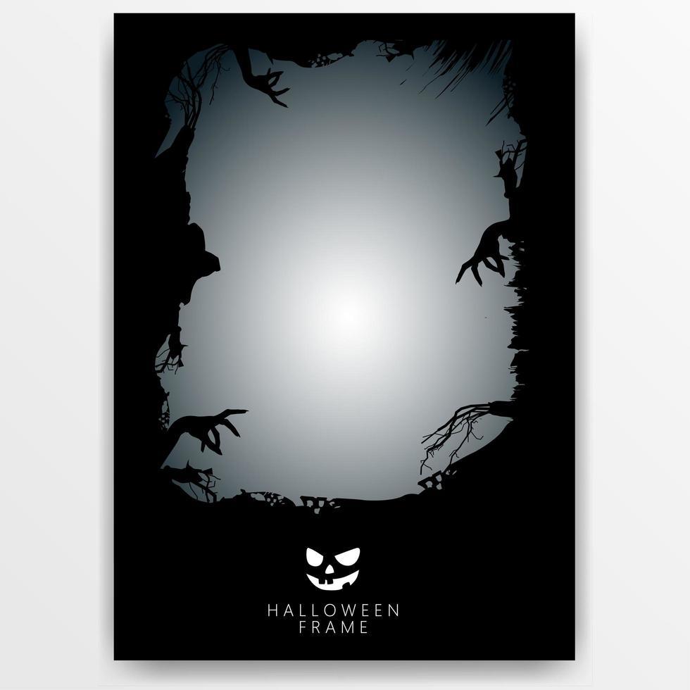 plantilla de banner de marco de halloween oscuro vector