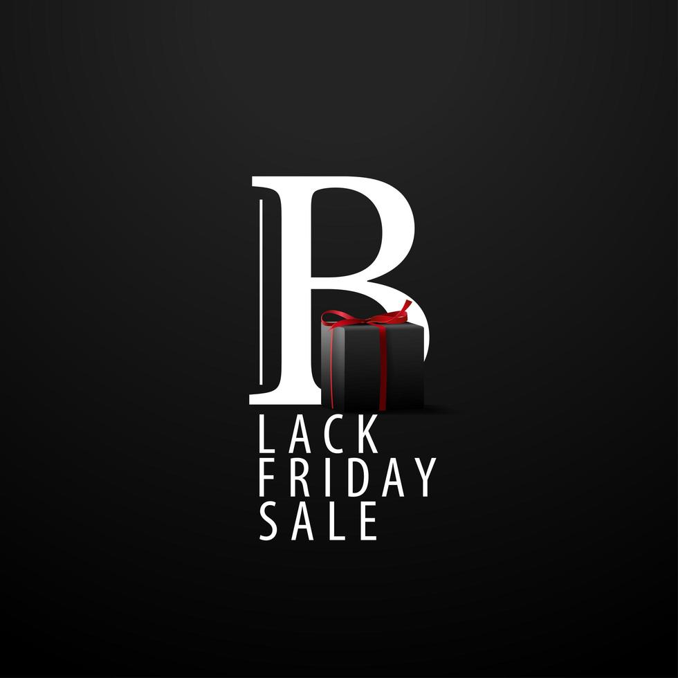 banner preto de venda sexta-feira com caixa de presente vetor